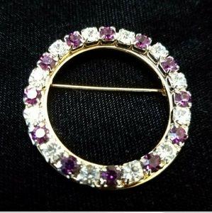 VTG Silver Purple Rhinestone Wreath Brooch